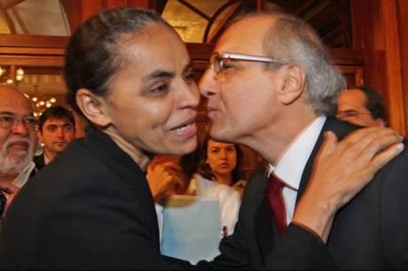 Marina Silva (PV-AC) e o empresário Gulherme Leal, presidente da Natura